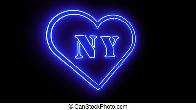 New York neon sign depicts Manhattan in NYC Usa. The Big Apple includes Brooklyn and 5th Avenue - 4k