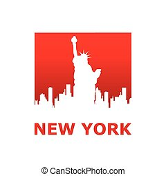 new york - New York city skyline silhouette. Template for...