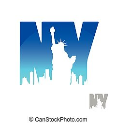 new york - New York city skyline silhouette. Template for...