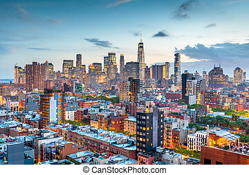 New York, New York, USA Financial district skyline from the Lower East Side