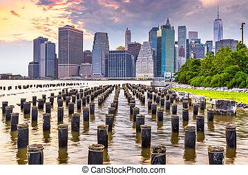 New York, New York, USA Lower Manhattan Cityscape on the East River