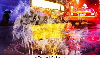New York night smoking manhole