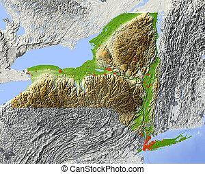 new york, ombreggiato, mappa sollievo