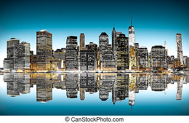 New York panorama - Panoramic night view of New York City...