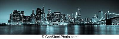 new york, -, panorama utsikt, av, manhattan horisont, av, natt
