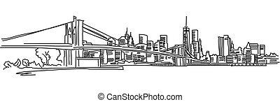 New York Panorama with brooklyn bridge, Vector outline ...