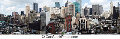 New York Panoramic - A panoramic view of skyscrapers in New...