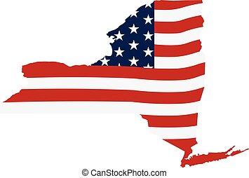 New York patriotic graphic map. Vector design illustration