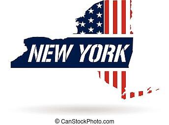 New York patriotic map. Vector graphic design illustration