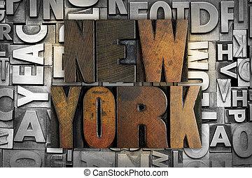 New York - The name NEW YORK written in vintage letterpress...