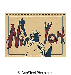 New York poster in vintage style with Statue of Liberty and hand drawn text. Vector illustration.