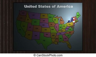 New York pull out from USA states abbreviations map - State...