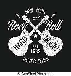 New York rock-n-roll print for apparel with guitar