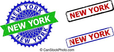 NEW YORK Rosette and Rectangle Bicolor Stamp Seals with Unclean Textures