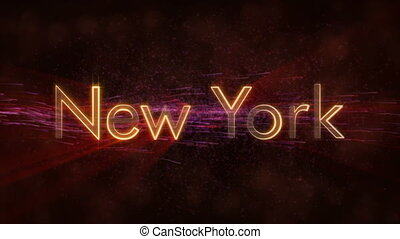 New York - Shiny looping state name text animation