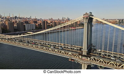 New York side view of Manhattan Bridge in the buildings of New York City USA