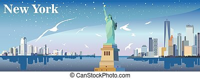New York silhouette with seagulls