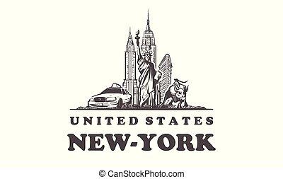 New-York sketch skyline. United states, hand drawn vector illustration.