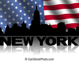 New York skyline and text reflected with rippled American flag illustration