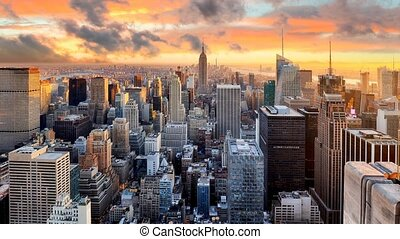 New York skyline at sunset, USA,