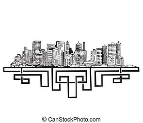 New York Skyline. Black and white vector illustration EPS 8.