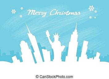 New York Skyline City Skyscraper, Christmas Silhouette