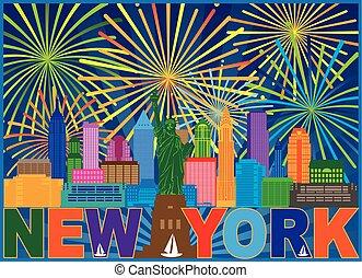 New York Skyline Fireworks Color Illustration