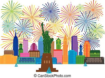 New York Skyline Fireworks Illustration