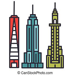 New york skyline flat line illustration, concept vector isolated icon
