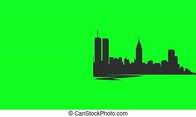 new york skyline illustration - green screen
