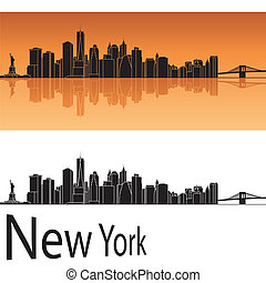 New York skyline in orange background in editable vector...