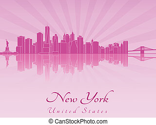 New York skyline in purple radiant orchid