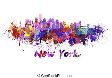 New York skyline in watercolor