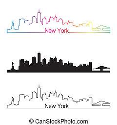new york skyline, linear, stil, mit, regenbogen