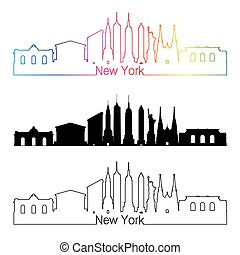 New York skyline linear style with rainbow