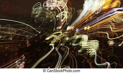 new york skyline made into crazy abstract light pattern