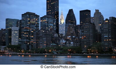 New York Skyline - Manhattan skyline across East River at...