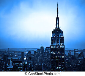 New York skyline - New York City skyline at sunset with blue...