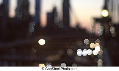 New york skyline night blurred lights city Brooklyn Bridge abstract background