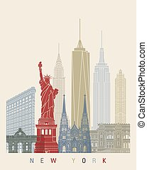 New York skyline poster in editable vector file