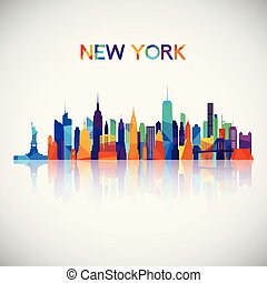 New York skyline silhouette in colorful geometric style.