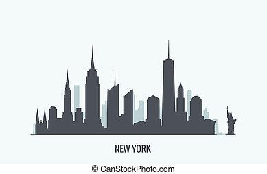 New York skyline silhouette - Vector graphics, flat city ...