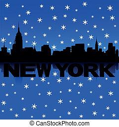 New York skyline snow illustration