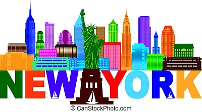 New York Skyline Text Color Illustration