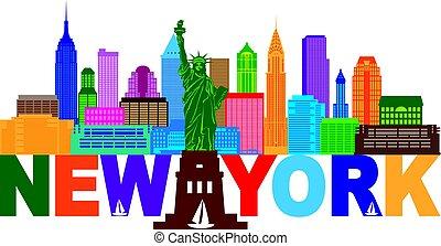 New York Skyline Text Color Illustration
