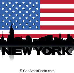 New York skyline text flag