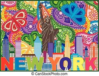 New York Skyline Text Paisley Pattern Color Illustration
