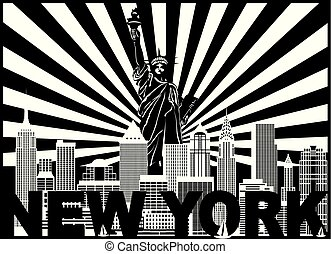 New York Skyline Text Sun Rays Illustration