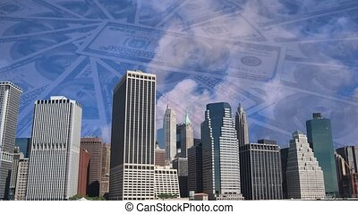 New York skyline with spinning dollar banknote