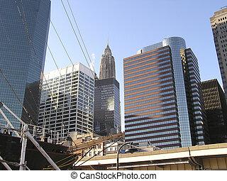 New York skyscrapers - Skyscrapers behind mast in pier of ...